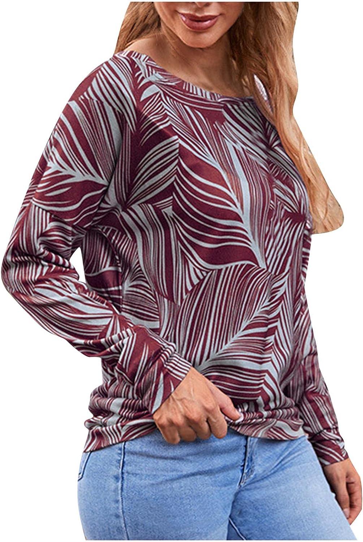 Kanzd Long Sleeve Shirts for T Print Women Long Beach Mall Leaves Fashion shop