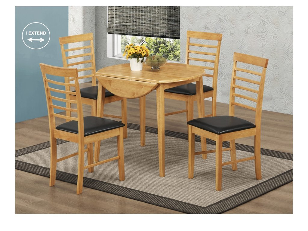 Oak Finish Round Drop Leaf Dining Set Round Drop Leaf Dining Set Table With 2 Assembled Chairs Hard Wood Extending Dining Table With 2 Chairs Dining Room Furniture Amazon Co Uk