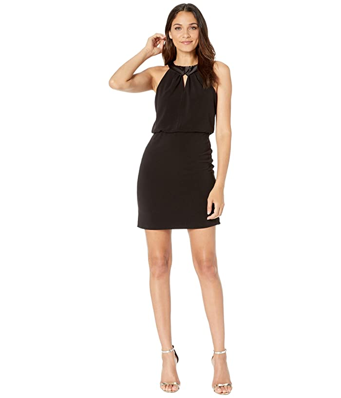 Halston  Satin Neck Crepe Dress with Keyhole (Black) Womens Dress