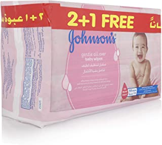 JOHNSON'S Baby, Wipes, Gentle All Over, 2+1, Pack of 168 wipes