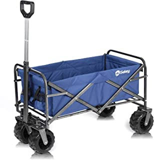 Sekey New Version Folding Wagon Cart Collapsible Outdoor Utility Wagon Heavy Duty Beach Wagon with All-Terrain Wheels, 176 Pound Capacity, Blue (New Version)