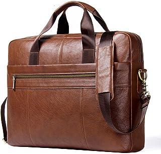 حقائب عمل جلدية للرجال، حقيبة ماسنجر جلدية، حقائب لاب توب للعمل على الكتف للكتب حقيبة سفر مع حزام قابل للتعديل، بني