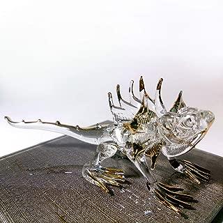 Sansukjai Iguana Miniature Figurines Animals Hand Blown Glass Art 22k Gold Trim Collectible Gift Decorate, Clear Gold
