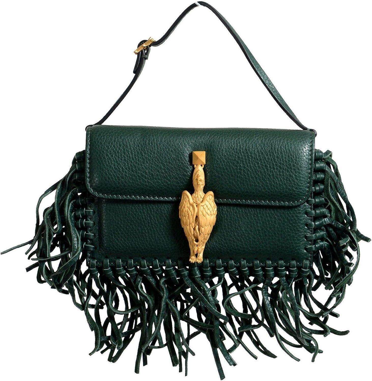 Valentino Women's 100% Leather Fringe Green Griffin Handbag Clutch Bag