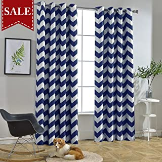Melodieux Chevron Room Darkening Blackout Grommet Top Curtains, 52 by 84 Inch, Navy (1 Panel)