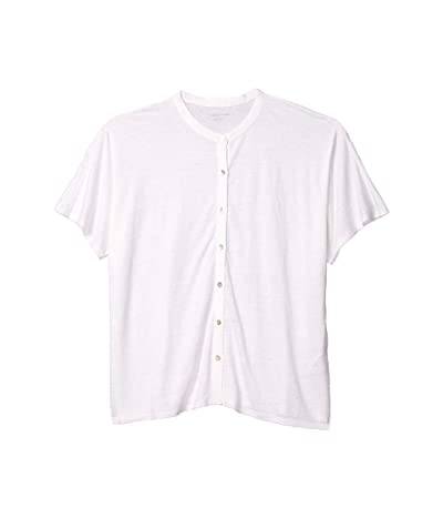 Eileen Fisher Mandarin Collar Shirt (White) Women