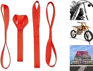 Cara Soft Loop Motorcycle Tie Down Straps 18 - 1, 300lb. Workload & 2, 300lb. Breaking Strength - Heavy Duty Tiedown Loops Securing for Motorcycles,  Dirtbikes,  Snowmobile,  ATV,  UTV (4 Pack,  Orange)