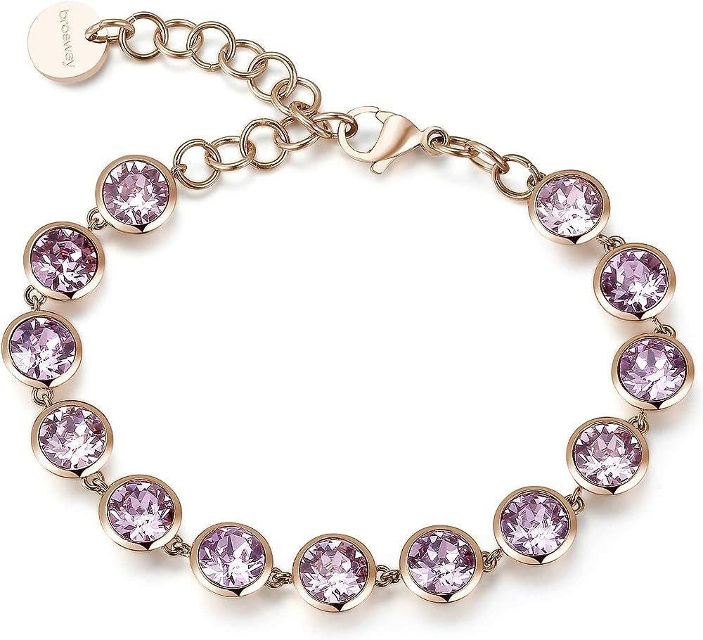 Brosway bracciale per donna in acciaio e pvd oro rosa e zirconi rosa. BAH19