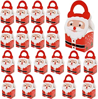 COAFIT 20PCS Candy Box Top Handle Party Favor Box Paper Candy Box for Christmas