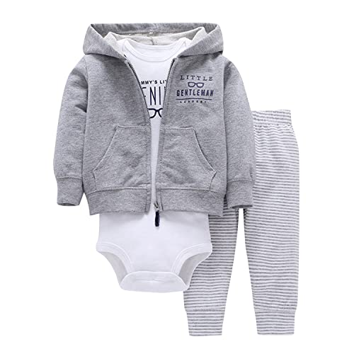 Newborn Baby Boys Coat Jacket + Romper + Long Pants 3pcs Clothing Set Outfit 353a6bacc