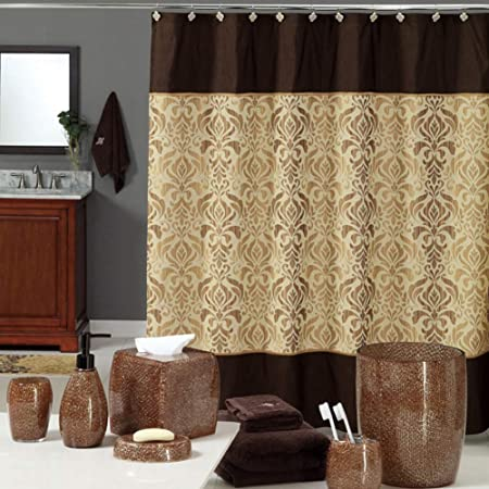 DS BATH Sterling Brown Shower Curtain,Chocolate Polyester Fabric Shower Curtain,Vintage Shower Curtains for Bathroom,Damask Bathroom Curtain,Printed Waterproof Shower Curtain,72 inches W x 72 inches H