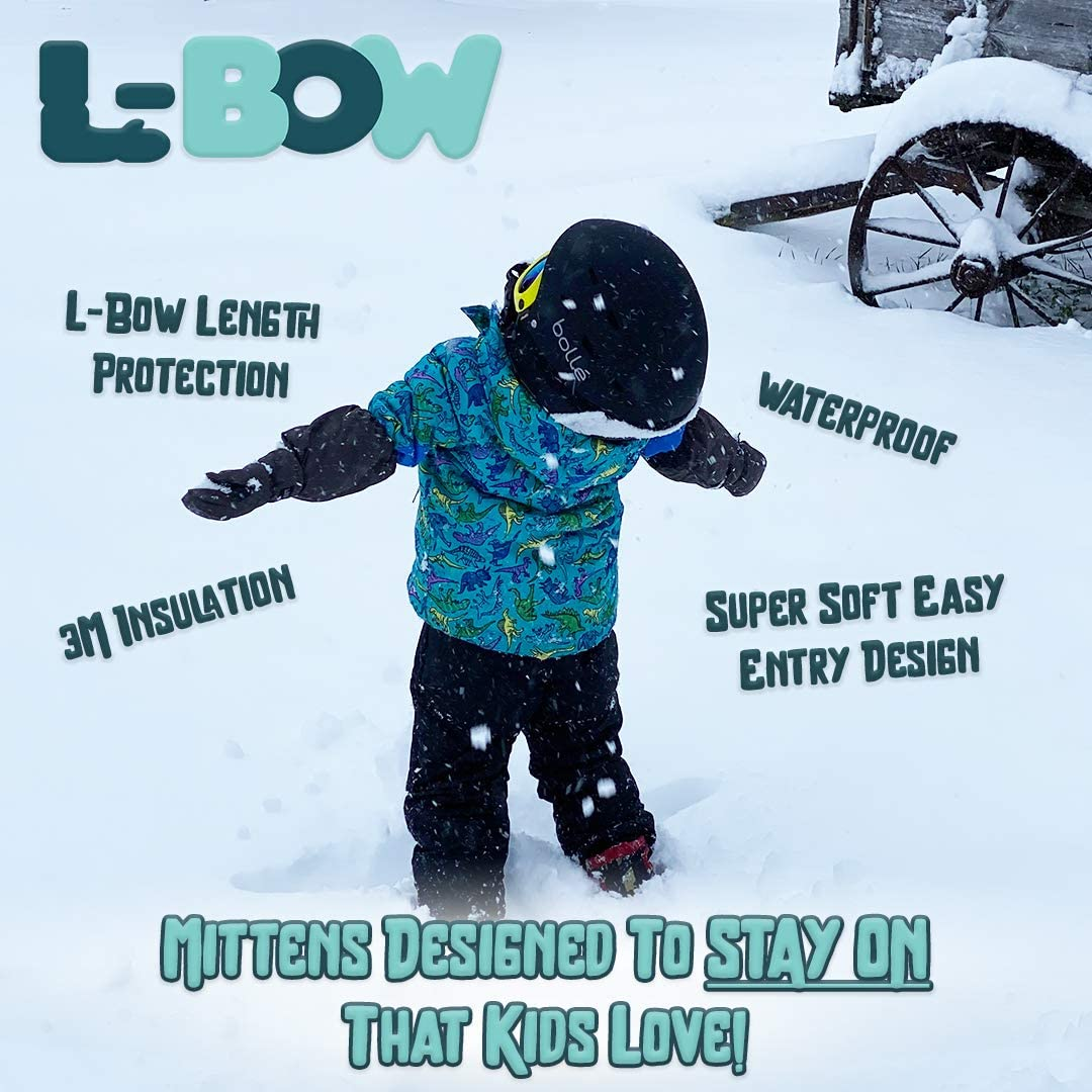 L-Bow Kids Mittens + Super Soft Easy Entry Style for Kids Mittens + Waterproof Stay On Design (Pink, Small (1-4 Yrs))