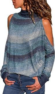comprar comparacion YOINS Camiseta Mujer de Manga Larga Blusa con Hombros Fríos Camisa Casual Camisetas a Rayas Cuello Redondo Imprimiendo Pul...