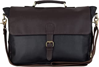 The House of tara Faux Leather Black-Brown Laptop Briefcase