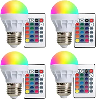 LED Color Changing Light Bulb - Dimmable 16 Modes Mood Hue RGB Colored Light Bulb with Remote Control for Bedrooms Party Home Decorations Stage - E26/E27 (4 Pack)