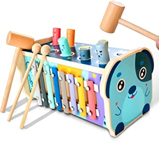 KIDWILL Wooden Hammering Pounding Toy, Educational Pegs Pound Maze Puzzle Number Sorter Musical Toy with Xylophone, Hammer...