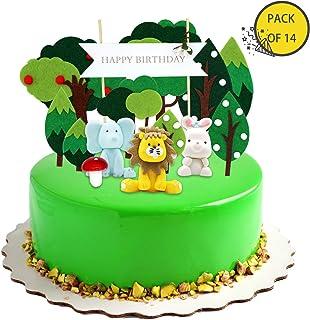 KiraKira Decoraciones para Pasteles, Decoracion Tartas , Tema de Animales y Bosque, Decoracion cumpleaños, cumpleaños de Primeros de la Torta (Juego de 14)