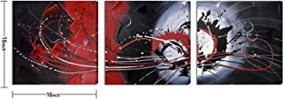 Large Hand-Made Abstract Wall Art for Living Room Bedroom Decoration, Modern Red and Black Knife Palette Oil Painting on C...