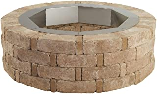 Pavestone RumbleStone 46 in. x 14 in. Round Concrete Fire Pit Kit No. 2 in. Cafe with Round Steel Insert