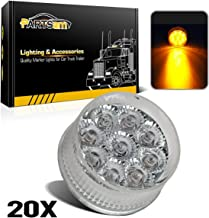 Partsam 20) 2in. Round Side Marker LED Truck Lights Clearance 9 Diodes Reflector Trailer, Sealed Clear/Amber 2