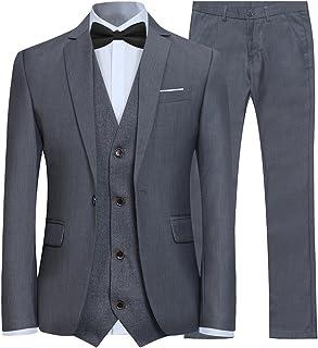 Allthemen Men's 3-Piece Slim Fit Suit Tuxedo Suit Jacket Trousers Waistcoat