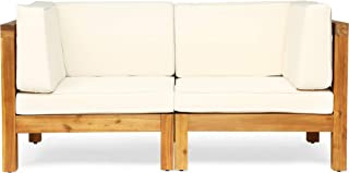Great Deal Furniture Keith Outdoor Sectional Loveseat Set | 2-Seater | Acacia Wood | Water-Resistant Cushions | Teak and Beige