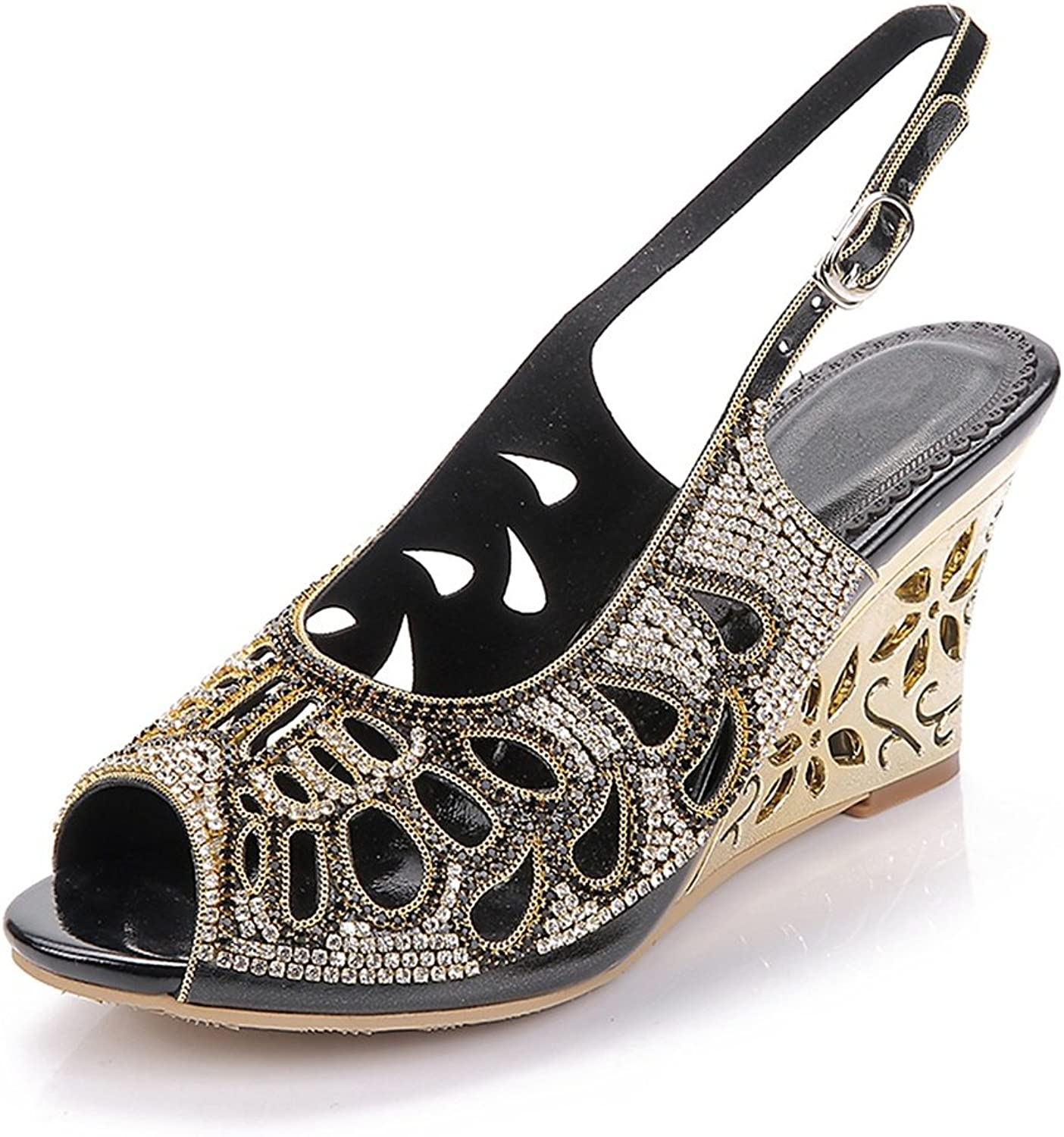 Womens Ankle Strap Wedge Heel Sandals Ladies Diamante Dress Wedding Prom Party shoes Size