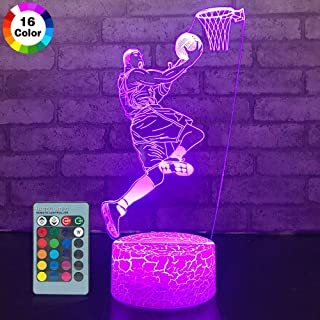 JMLLYCO Basketball Night Lights for Kids Basketball Gifts 16 Colors Change with Remote Control 3D Optical Illusion Basketball Decor Lamp As a Gift Ideas for Kids Boys Birthday Gifts