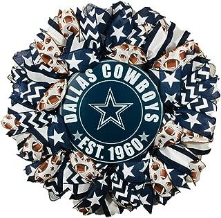 Dallas Cowboys Deco Mesh Wreath, Handcrafted, 24 Inches