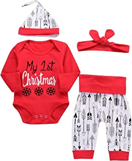 4Pcs Christmas Baby Boy Girls Long Sleeve Snow Romper Bodysuit+Arrow Pant+Hat+Headband Clothes