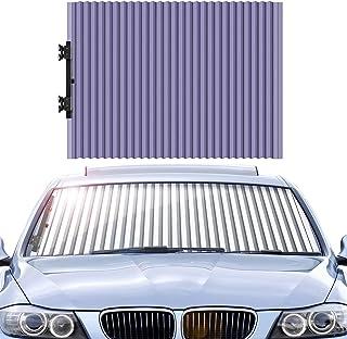 車用遮光カーテン 車用サンシェード カーシェード PoKeer 自動伸縮 吸盤式 日よけ UVカット 紫外線対策 日焼け防止 折り畳み 伸縮 日除け 車用品 車中泊
