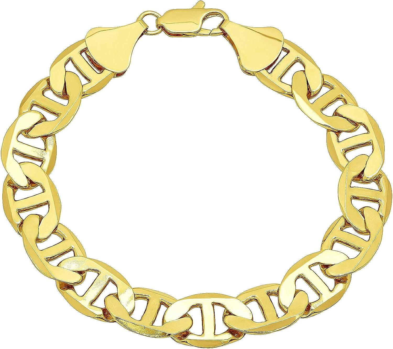 Men's 12mm New popularity 14k Yellow Gold shopping Flat Mariner Bracelet Plated Chain