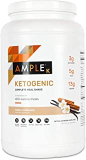 Ketogenic Meal Replacement Shake with only 3g Net Carbs, 30 Servings, Bulk Canister, Made with Natural Real...