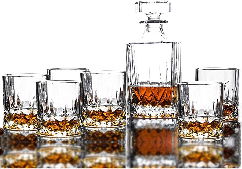 Liquor Bottle Dispenser Whiskey Glass Set 800 Year-end gift Crysta Max 71% OFF No-Lead Ml