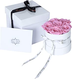 Bouquet of Preserved Pink Roses in a round box, Long Lasting Luxury Flowers that last a year, Bouquet of Flowers for Birthday