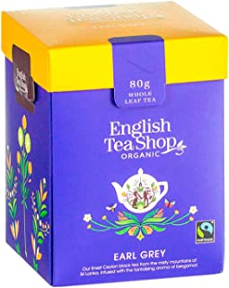 English Tea Shop Tè Nero Biologico al Bergamotto Earl Grey in Foglia Sfusa Eco-Box Compostabile - 1 x 80 Grammi