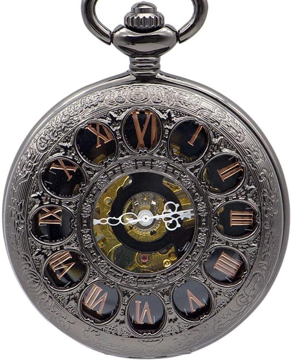 JZDH Reloj de Bolsillo de Cuarzo de Reloj de Bolsillo, Reloj de antigüedades del Collar Antiguo de los Hombres del Esqueleto Antiguo