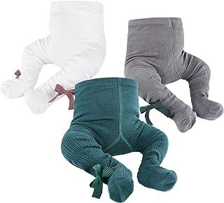 OioTuyi Baby Strickstrumpfhose Nahtlose Baumwollgamaschen 3er Pack Strumpfhose für Mädchen Neugeborene Kleinkinder Kleinkinder 0-2Y