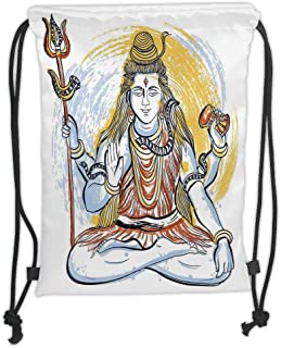 Drawstring Backpacks Bags,Yoga,Legendary Four Handed Oriental Lord Holding Axe South Asian Grungy Style Meditation,Blue Yellow Soft Satin,5 Liter Capacity,Adjustable String Closure