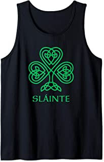 Slainte Irish Green Shamrock Celtic Knot Ireland Gaelic Tank Top