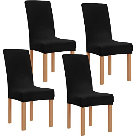 Black U-HOME Pu Leather Waterproof Dining Chair Cover Stretch Short Dining Seat Protector Slipcover for Hotel,Dining Room,Wedding