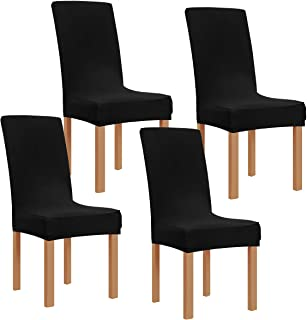 Obstal Black Stretch Spandex Dining Room Chair Covers – Set of 4 Universal Removable..