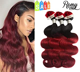 Prettiharr Two Tone Red Ombre Brazilian Remy Hair Body Wave Weft Bundles 3pcs,Ombre Brazilian Remy Hair Human Hair Weave Two Tone Black to Burgundy T 1B 99J (16 18 20)