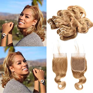 XCCOCO 27# Hair 4 Bundles With Closure 10A Grade Cheap Honey Blonde Short Body Wave Bundles with 4X4 Frontal Closure 100% Human Hair Extensions(50g/bundle,10 10 10 10+10nch Closure)