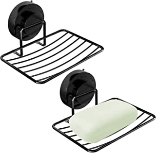 Top-spring Soap Dish Holder, Stainless Steel Soap Basket Sponge Holder with Strong Vacuum Suction Cup Soap Saver for Bathroom, Shower, Kitchen, Sinks (Black soap Dish 2pcs)