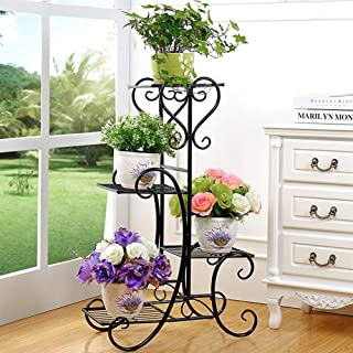 Plant Stand Metal Flower Holder Pot with 4 Tier Garden Decoration Display Wrought Iron 4 Layers Planter Rack Shelf Organizer for Garden Home Office Black (Renewed)