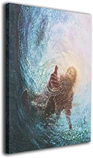 POOPEDD Jesus Reaching Into Water Oil Painting Digital Print On Wall Art Canvas Home Decor Canvas Paintings for Kitchenroom Ready to Hang