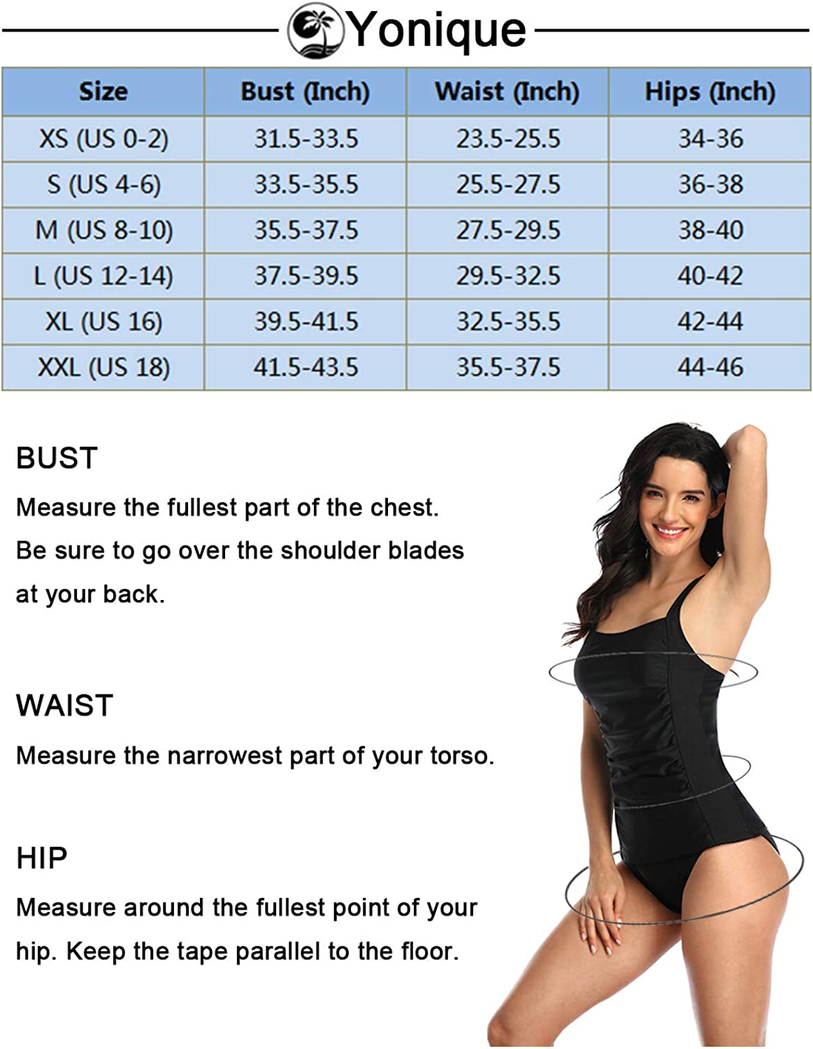 Yonique Tankini Bathing Suits for Women Tummy Control Swimsuits with Boy Shorts Two Piece Modest Swimwear