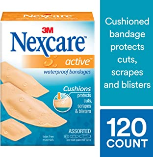 Nexcare Active Extra Cushion Bandages, Assorted Sizes, 30 Count Packages (Pack of 4)