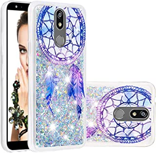 Shining Confetti Case Compatible with LG K7, APEXCASE Glitter Moving Quicksand Health-Safe Liquid Oil Clear TPU Protective Phone Case Cover for Girls (Feather)
